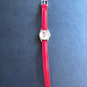 Disney Minnie Mouse watch w/date, red leather band